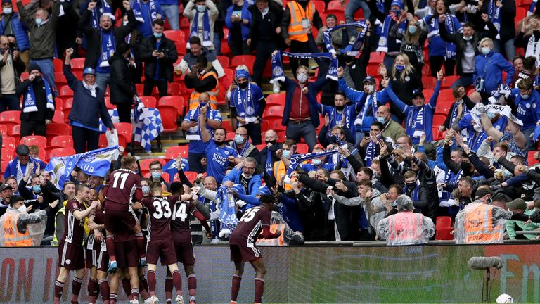 Thousands of Leicester City fans watched their side win the FA Cup at Wembley