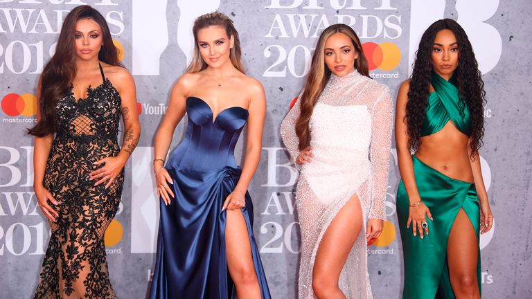 Little Mix and former band member Jesy Nelson (left) - Perrie Edwards, Jade Thirlwall and Leigh-Anne Pinnock - pictured at the Brit Awards when they were a foursome in 2019. Pic: AP