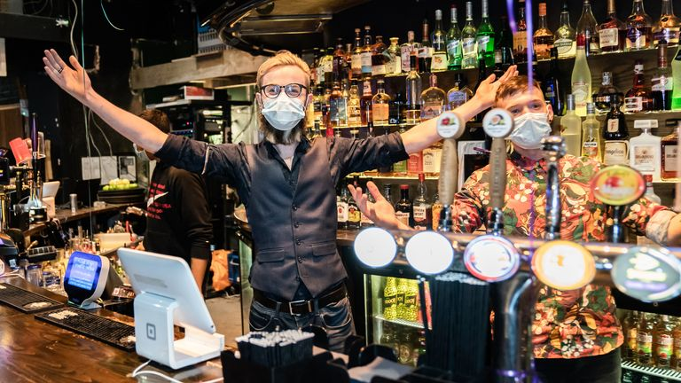 Bar staff at the Showtime Bar opened their doors to indoor customers at midnight