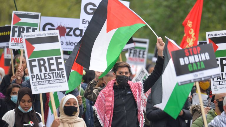 Demonstrators walk through Hyde Park as they make their way to the Israeli embassy in London, during a march in solidarity with the people of Palestine amid the ongoing conflict with Israel. Picture date: Saturday May 15, 2021