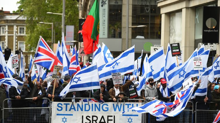 People take part in a pro-Israel rally adjacent to the Israeli embassy in Kensington High Street. Picture date: Sunday May 23, 2021.