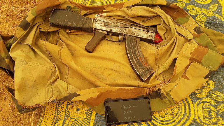 AK47 rifles, hundreds of rounds of ammunition, camouflage clothing, radios, mobile phones and hundreds of litres of fuel were found