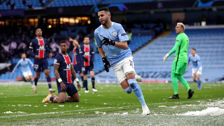 Manchester City's Riyad Mahrez celebrates scoring their side's first goal of the game against Paris Saint-Germain during the UEFA Champions League Semi Final second leg