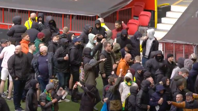 Pitch invasion at Old TRafford Manchester United in protest against Glazer family