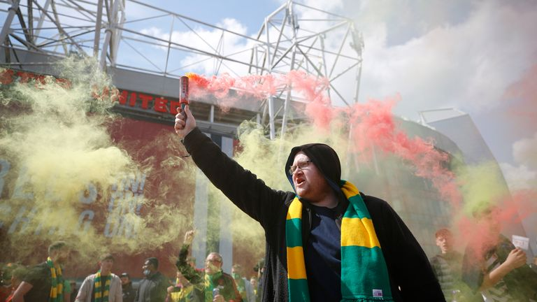 Manchester United fans protesting outside Old Traford against the club's ownership by the Glazers