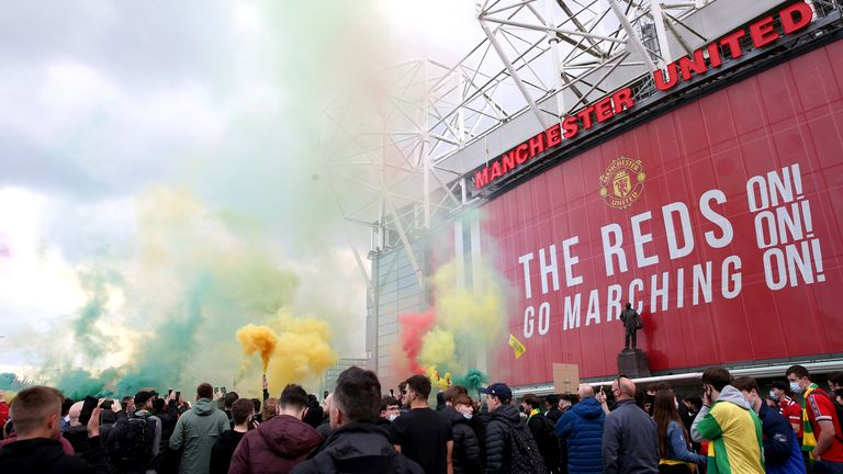 Angry Manchester United fans are staging a protest against the club's owners outside their stadium.