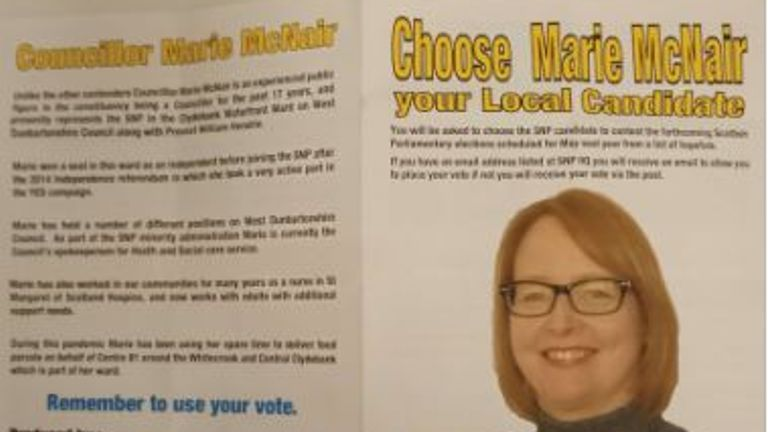 The leaflet backing Marie McNair broke SNP selection rules