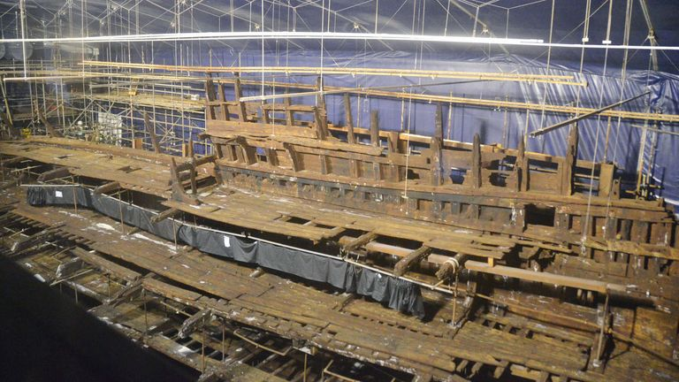 May 2013 - the Mary Rose, a British warship that sank in the 16th century and was hauled out of the seabed in 1982. Pic: AP