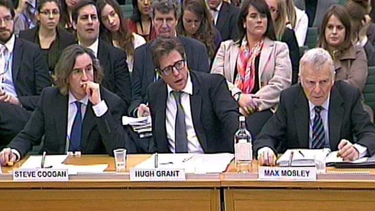 (From the left) Steve Coogan, Hugh Grant and Max Mosley give evidence to the Joint Committee on Privacy and Injunctions at Portcullis House, London.