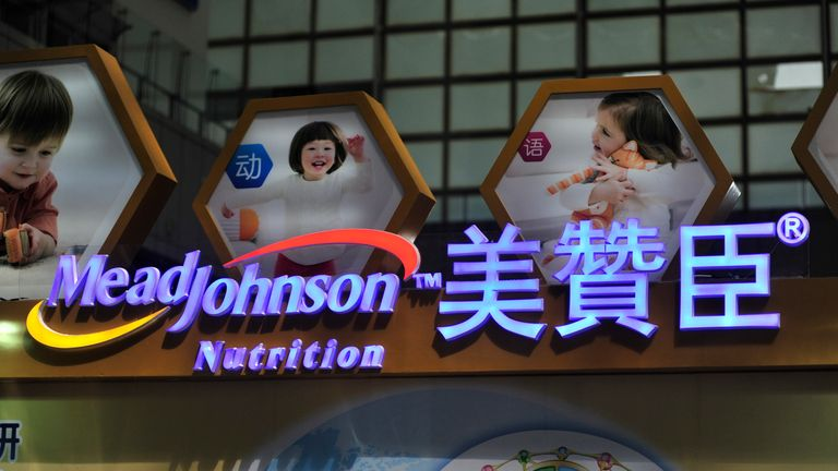 View of a signboard of Mead Johnson Nutrition during an exhibition in Nanjing city, east China's Jiangsu province, 16 May 2015.