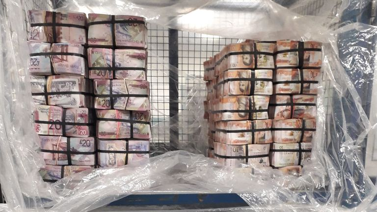 The Met Police discovered £5m in cash in a property in Fulham following a money laundering operation. Pic: Met Police