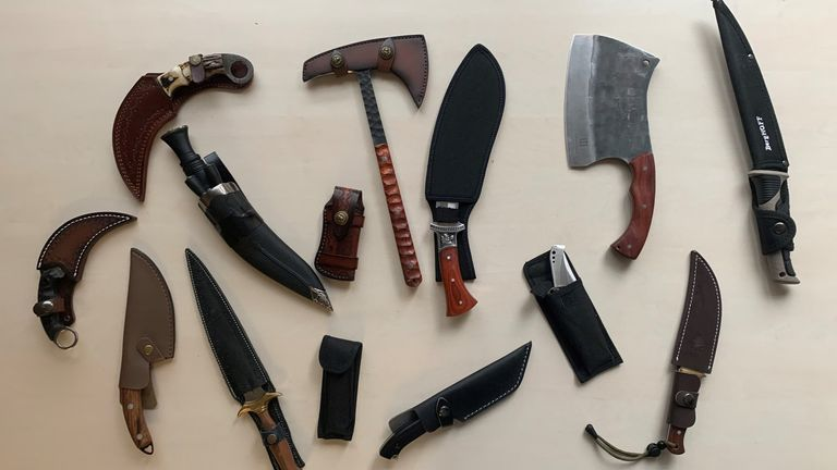 Some of the nearly 4,000 knives recovered by police