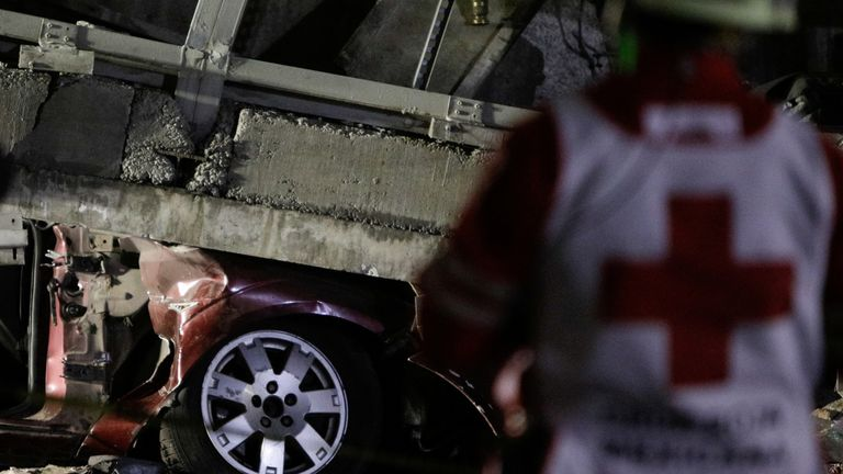A car was hit when the underpass collapsed on the road