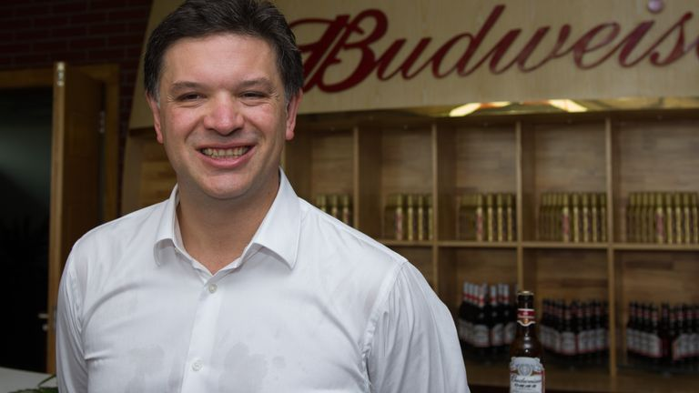 Michel Doukeris, Zone President of Asia Pacific of Anheuser-Busch InBev, poses during the opening ceremony for AB InBev Nanning Brewery in Wuming county, Nanning city, south Chinas Guangxi Zhuang Autonomous Region, 13 May 2014