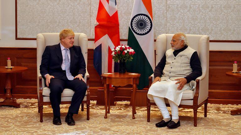 British Foreign Secretary Boris Johnson and India's Prime Minister Narendra Modi in New Delhi, India, January 18, 2017