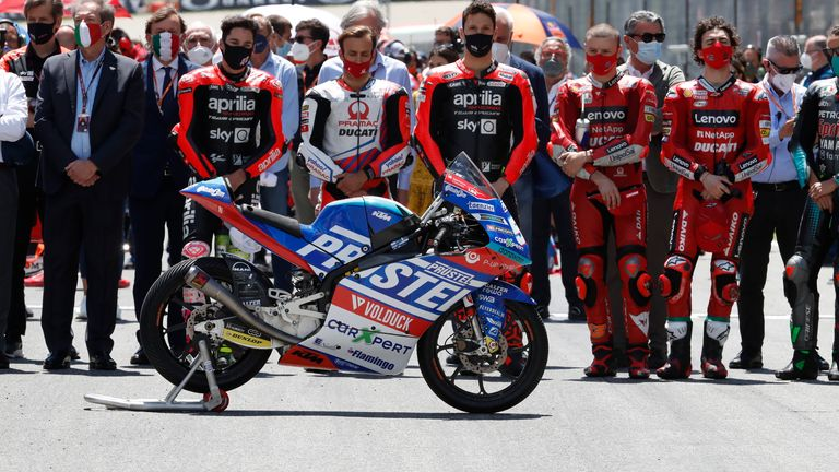 Teammates of the 19-year-old Swiss Moto3 driver paid tribute to Jason Dupasquier before the start of the MotoGP Grand Prix in Italy. Pic AP