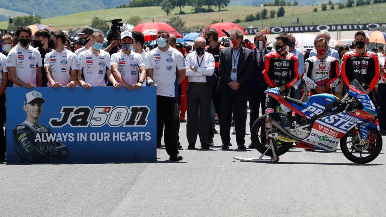 Before Sunday's race, drivers and teammates paid tribute to the 19-year-old and observed a minutes silence. Pic AP