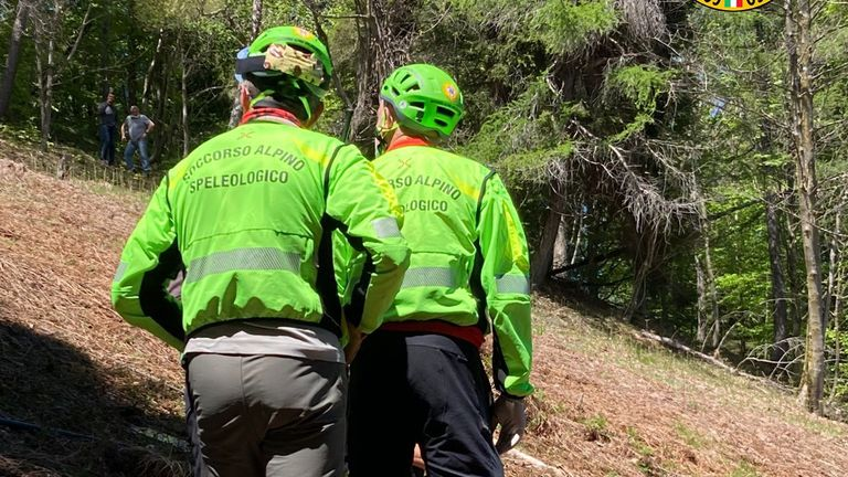 Italy's mountain rescue said the cabin fell near the summit. Pic: Speleological Rescue Corps