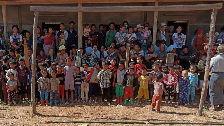 People displaced by fighting from Myanmar's northwestern town of Mindat are pictured in Chin State, Myanmar May 20, 2021. REUTERS/Stringer