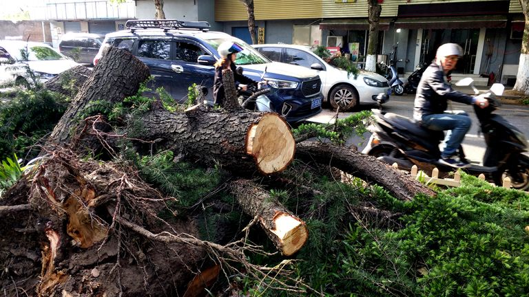 Damage from the storm in Nantong. Pic: Xinhua via AP
