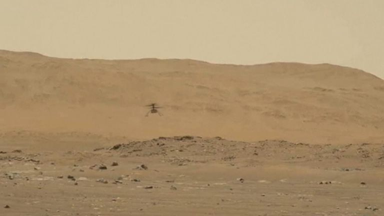 Ingenuity, the first powered aircraft to fly at another planet, arrived at Mars clinging to Perseverance's belly.