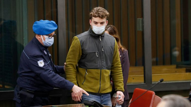 Gabriel Natale-Hjorth, from the US, arrives for a hearing in the trial where he and co-defendant Finnegan Lee Elder are facing murder charges after Italian Carabinieri paramilitary police officer Mario Cerciello Rega. Pic: AP