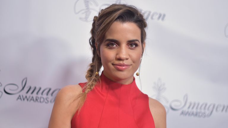 Natalie Morales arrives at the 34th annual Imagen Awards on Saturday, Aug. 10, 2019, at the Beverly Wilshire Hotel in Beverly Hills, Calif. (Photo by Richard Shotwell/Invision/AP)