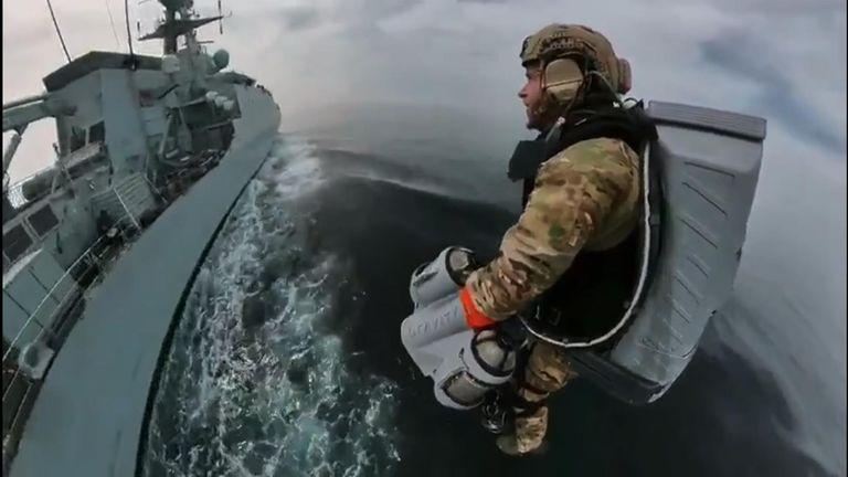Royal Navy tests out jetpack flight.