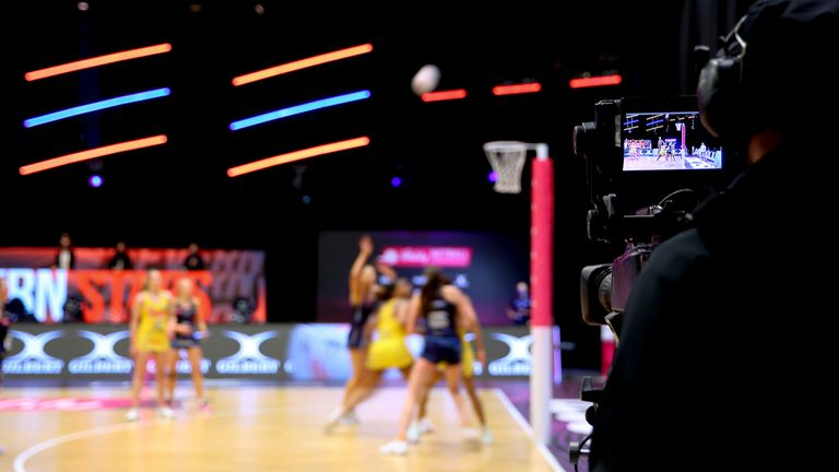 Taken during the Vitality Super League match between Team Bath and Severn Stars at Studio 001, Wakefield, England on 13th March 2021.