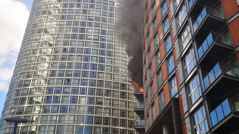 The fire has engulfed three floors. Pic:  Athina Fokidou