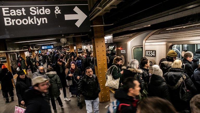 Commuters ride the L train during the rush hour in New York, U.S. January 14, 2019