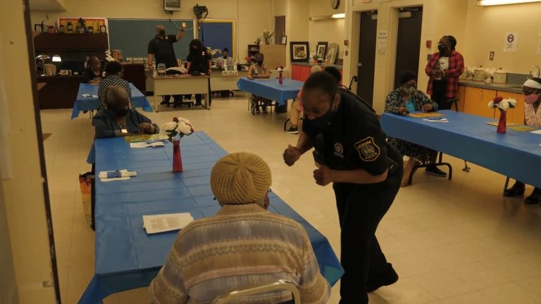 Officers help out at the bingo night in Newark