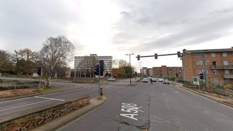 The junction with the A508 and Greyfriars in Northampton where a 39-year-old woman and her unborn baby died after being hit by a car. Pic: Google StreetView