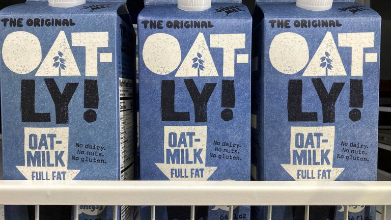 Oatly containers are displayed at a grocery store, Tuesday, May 18, 2021, in North Miami, Fla.  Pic: AP