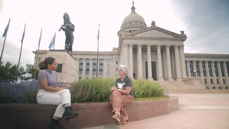Education activist Jenni White (right) supports Oklahoma's new law