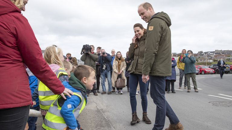The Cambridges chatting with schoolchildren on Orkney