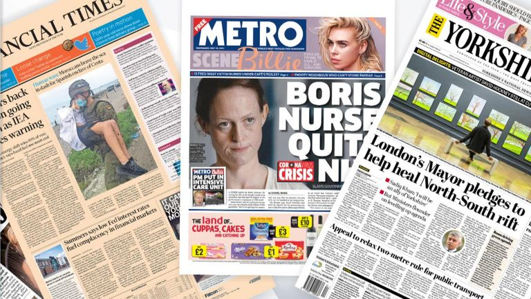 Wednesday's national newspaper front pages