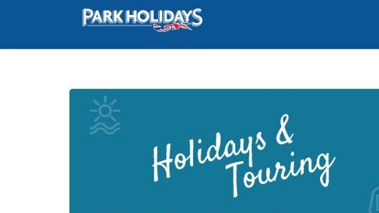 Park Holidays website screengrab downloaded 28/5/21