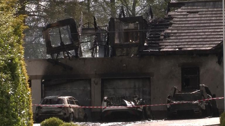 The wreckage from the explosion and fire at Peter Lawwell's house