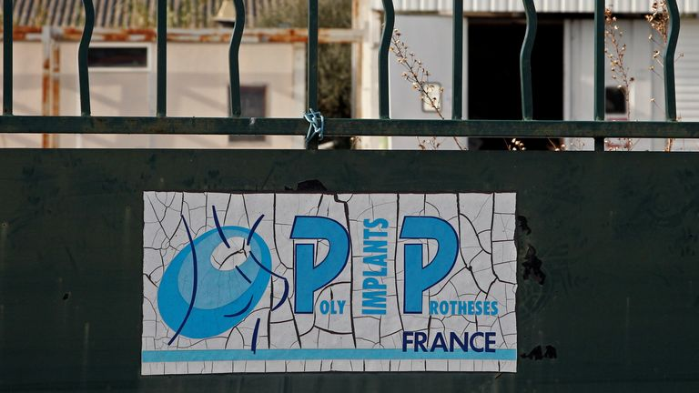 The locked entrance of the French company Poly Implant Prothese building near Toulon. File pic