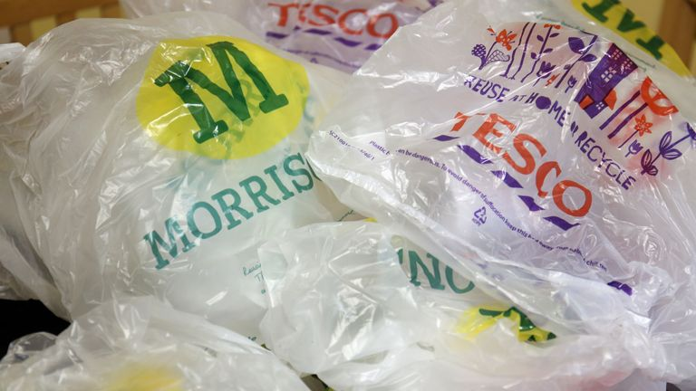File photo dated 05/10/15 of supermarket plastic bags. The UK's 10 largest supermarket chains put plastic equivalent to the weight of 90 Eiffel Towers on to the market in 2019, a report by two environmental charities has found. Issue date: Tuesday January 26, 2021.