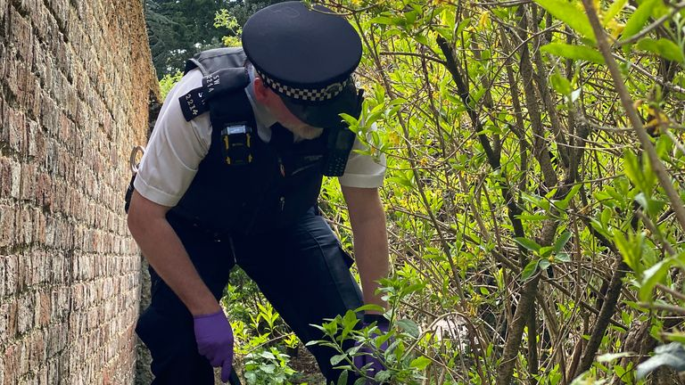 Officers searching for weapons during Operation Sceptre