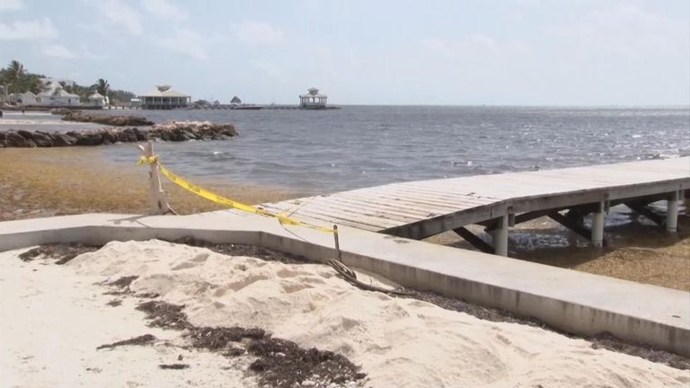 The pier where Henry Jemmott's body was found. Pic: AP/7 News Belize