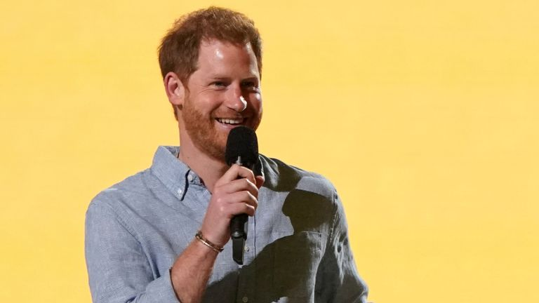"""Prince Harry, Duke of Sussex speaks at """"Vax Live: The Concert to Reunite the World"""" on Sunda"""