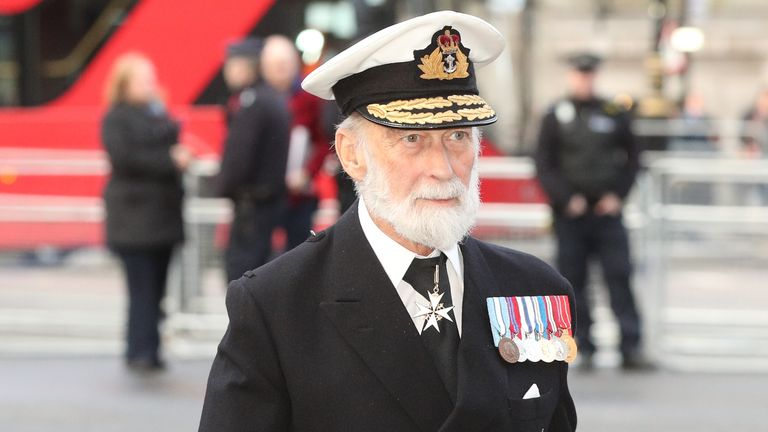 Prince Michael of Kent arriving for a service at Westminster Abbey in 2019