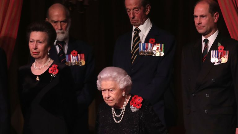 Prince Michael of Kent, pictured 2nd left here in 2018, is the Queen's cousin