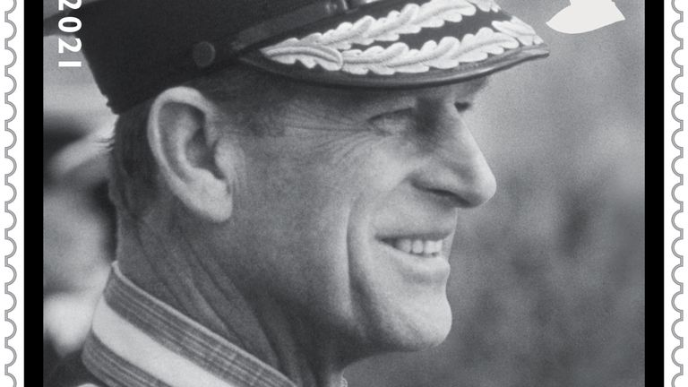 Undated handout image issued by Royal Mail of a 1st class stamp with a photograph of the Duke of Edinburgh attending the passing out parade of Prince Andrew at Dartmouth Naval College in Devon. The Royal Mail are issuing four new stamps in memory of HRH The Prince Phillip, Duke of Edinburgh who died on April 9 this year.