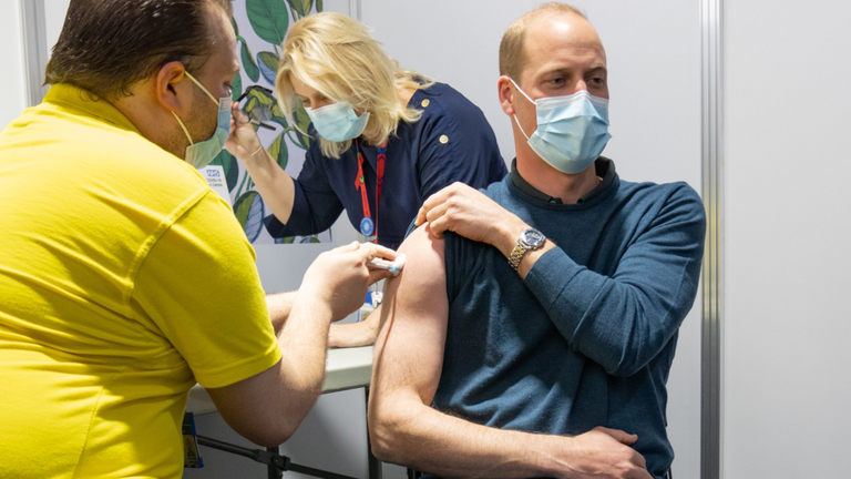 Prince William receives his first dose of a coronavirus vaccine