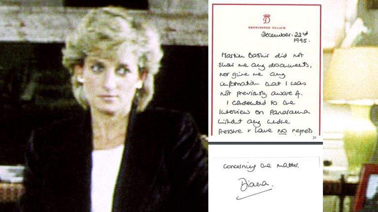 Princess Diana during her interview with Martin Bashir for the BBC and a letter she wrote after it was broadcast