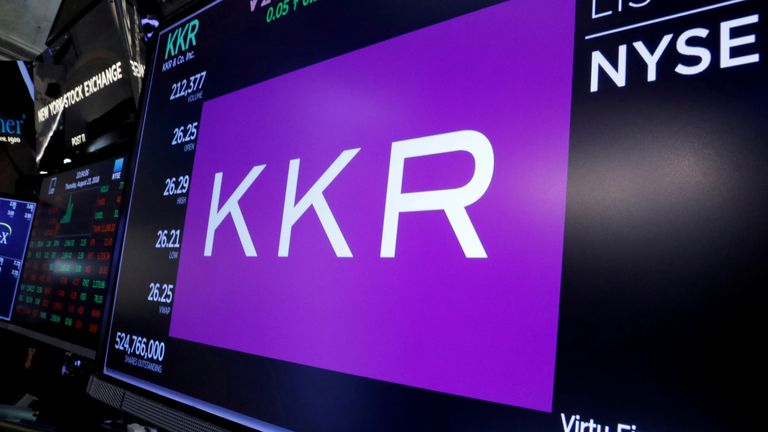 Trading information for KKR & Co is displayed on a screen on the floor of the New York Stock Exchange (NYSE) in New York, U.S., August 23, 2018.